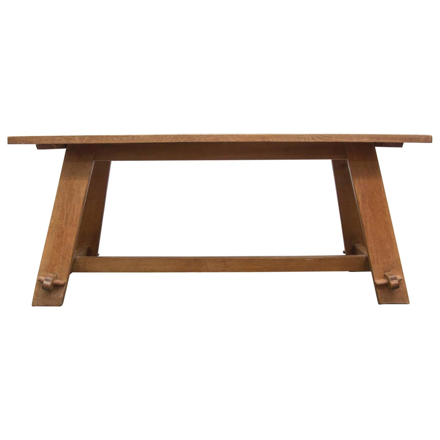 Solid oak trestle dining table at 1stdibs for Oak dining room table