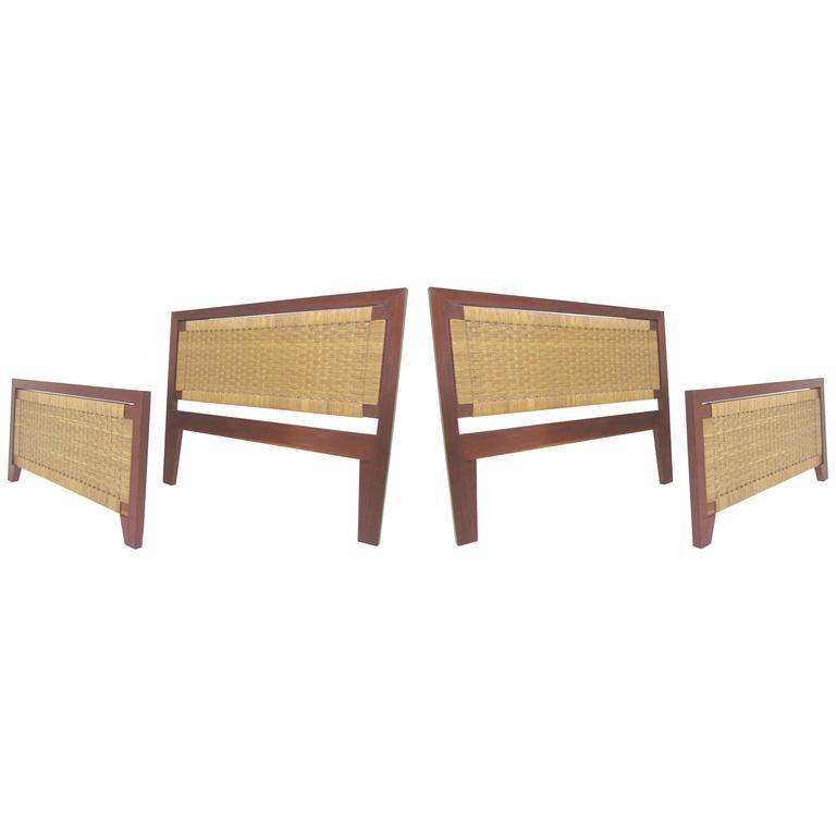Pair Of Mexican Mid Century Single Beds With Handwoven Cane, Circa 1950s  For Sale