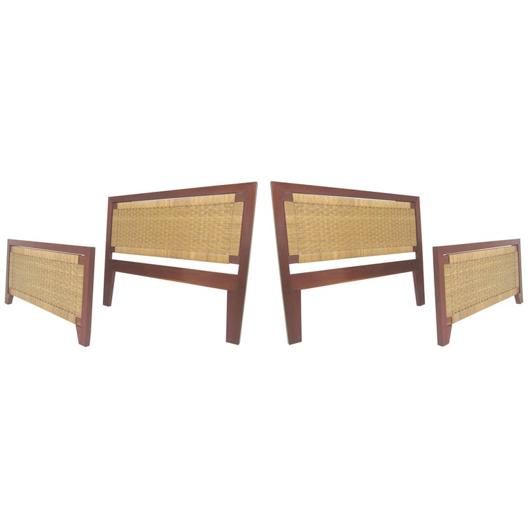 Pair of Mexican Mid-Century Single Beds with Handwoven Cane, circa 1950s
