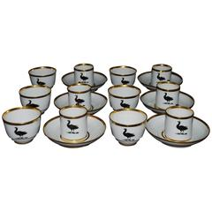 Set of Six English Porcelain Bird Trio Coffee and Tea Cups and Saucers