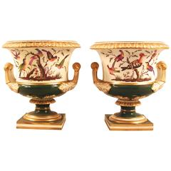 Pair of Bloor Bird Decorated Campagna Form Urns