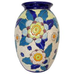 Midcentury Floral Pottery Vase in the Style of Boch Freres, Belgium