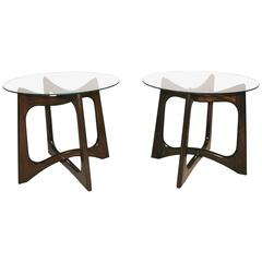 Pair of Sculptural Walnut and Glass Tables by Adrian Pearsall