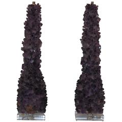 Pair of Amethyst rock crystal lamp