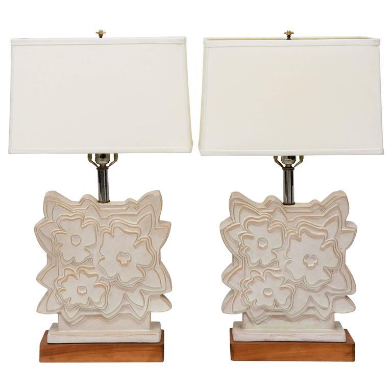 Pair of Italian Modern Ceramic Lamps, Raymor