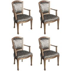 Set of Four Italian Neoclassic Silver Gilt Armchairs, Piemontese