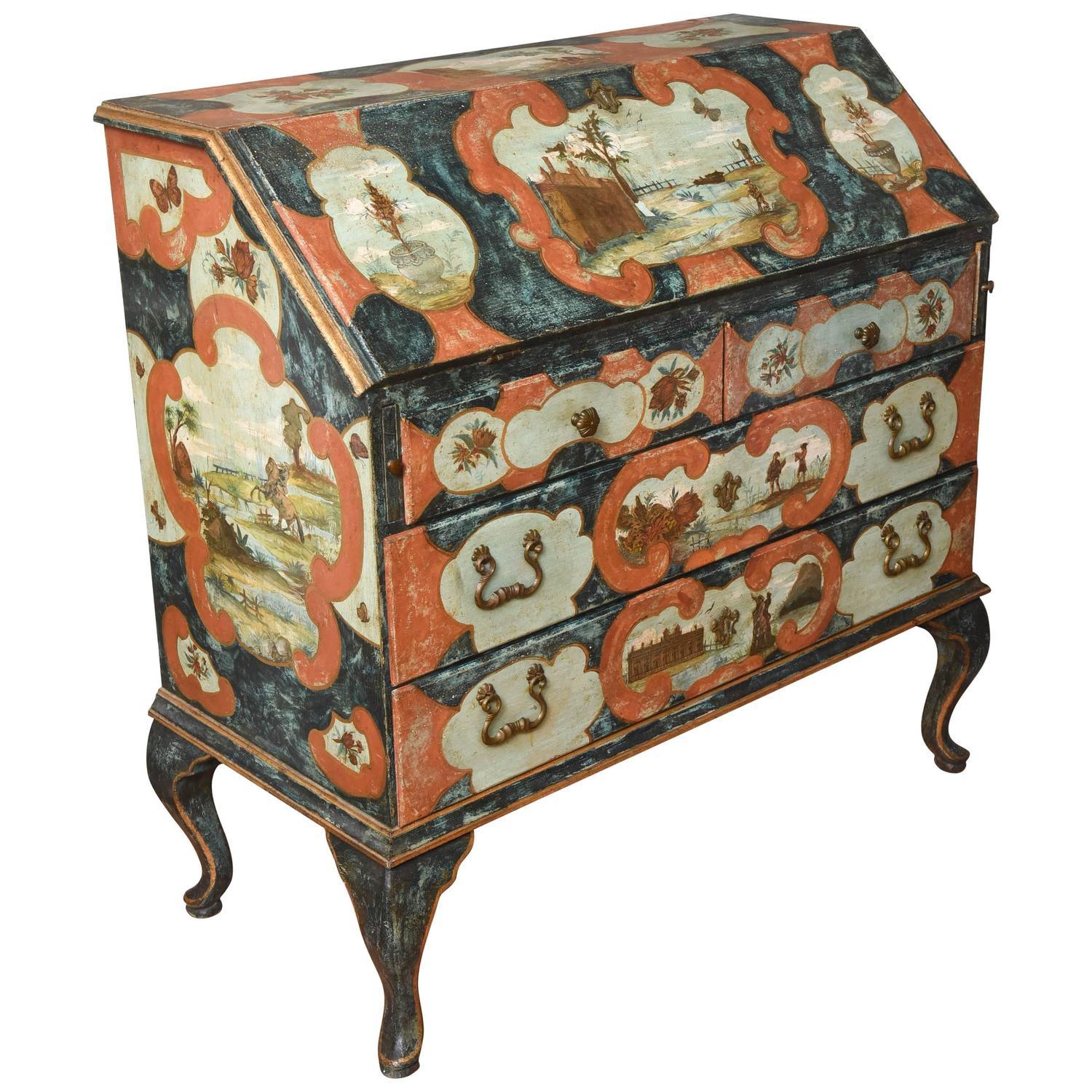 Italian painted and decoupage secretaire at 1stdibs for Italian painted furniture
