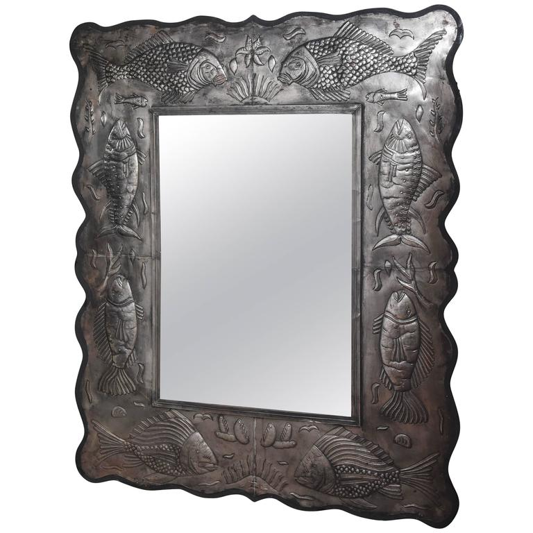Large Embossed Metal Framed Mirror with  Assorted Fish