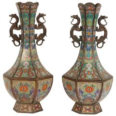 Pair of Finely Detailed Cloisonne Vases