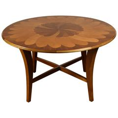 1980s Inlaid Center Table, Walnut and Maple Center Design
