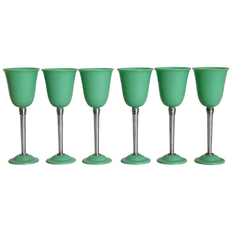 Machine Age Art Deco Nudawn Van Doren & Rideout Stemware Set for National Silver For Sale 4