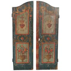 Pair of Antique Painted Doors as Wall Hanging Decoration, circa 1828