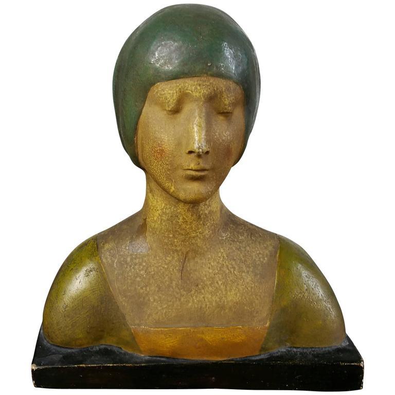 Art Deco Plaster Bust, Clasasic Wiener Werkstatte Female
