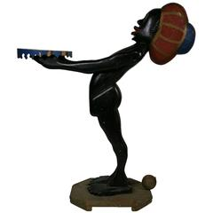 Monumental 1920s Folk Art Silent Butler Sculpture, Black Americana