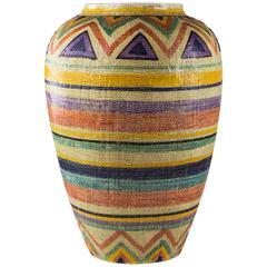 Italian Ceramic Woven Textured Floor Vase, Italy, 1970s