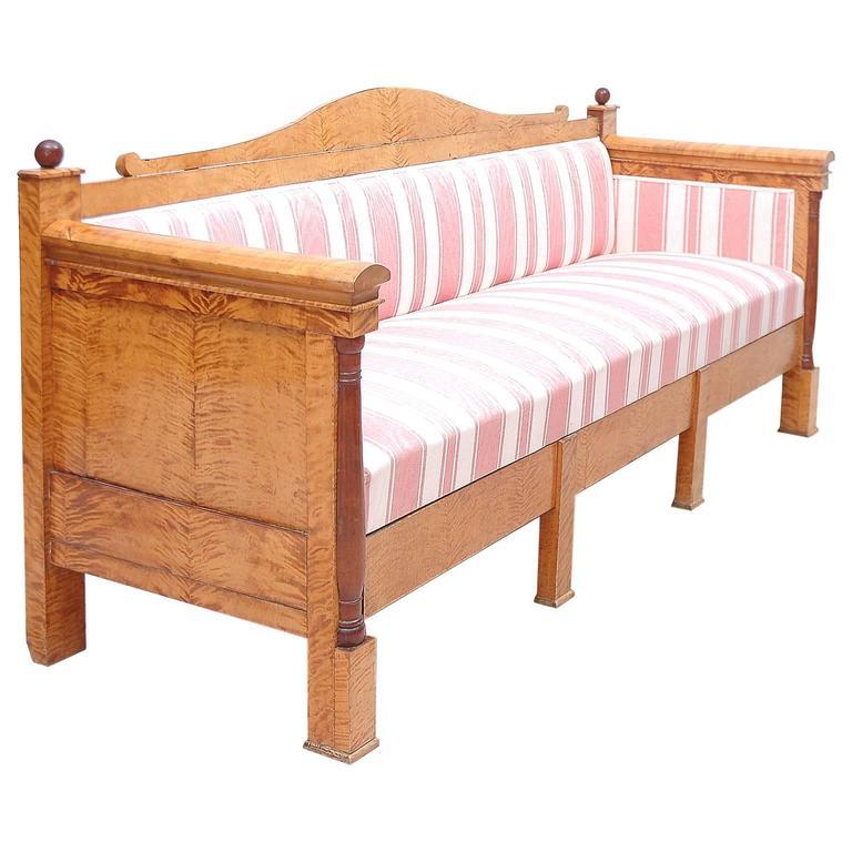Scandinavian Biedermeier Sofa or Upholstered Bench in Birch, c. 1830