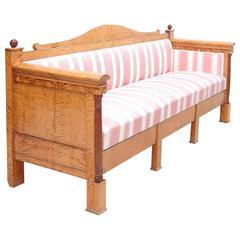 Biedermeier Sofa or Upholstered Bench in Birch