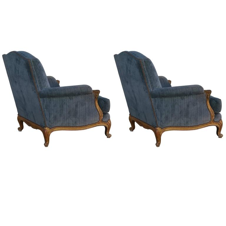 Pair of Exceptional French Giltwood and Velvet Louis XV Style Armchairs