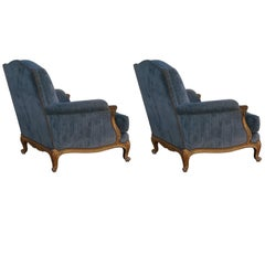 Exceptional French Giltwood and Velvet Louis XV Style Armchair