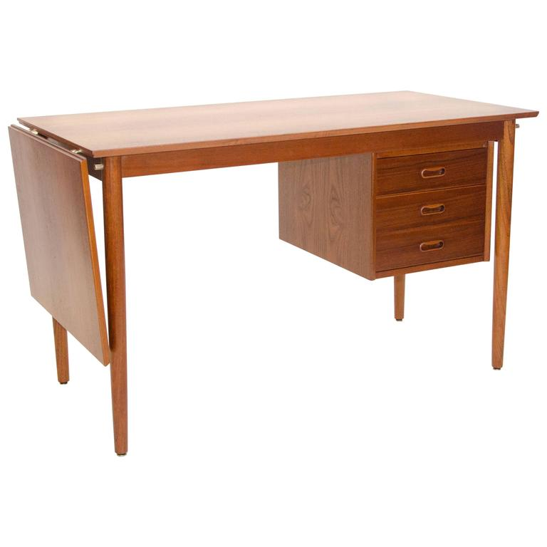 Danish Teak Desk With Sliding Drawers By Arne Vodder For