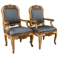 Pair of Italian Rococo Cream and Gilt Armchairs, 18th Century