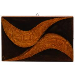 Carved Wood Plaque with Double Swirl by Artist Flaviano Laghi