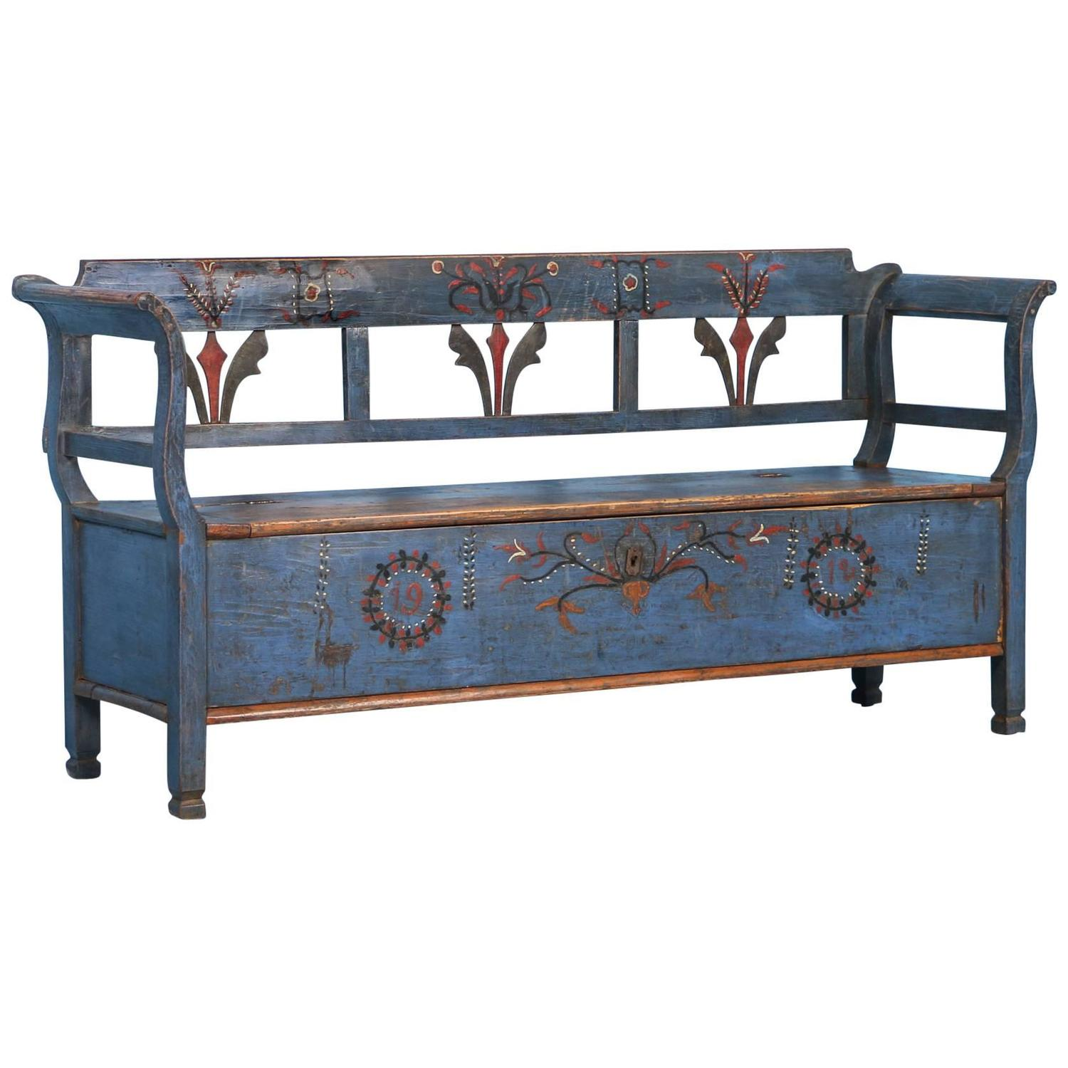 Antique original blue painted bench with storage dated 1912 at 1stdibs Furniture benches