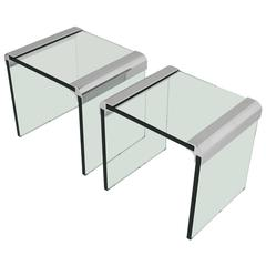 Pair of Pace Chrome and Glass Side Tables