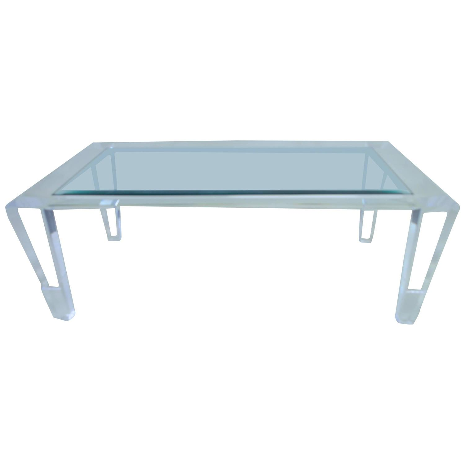 Heavy Lucite Cocktail Table For Sale at 1stdibs