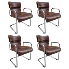 Four Leather Chairs by Guido Faleschini for Mariani