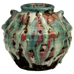 Awaji Pottery Manipulated Vase with Multicolored Volcanic Drip Glaze