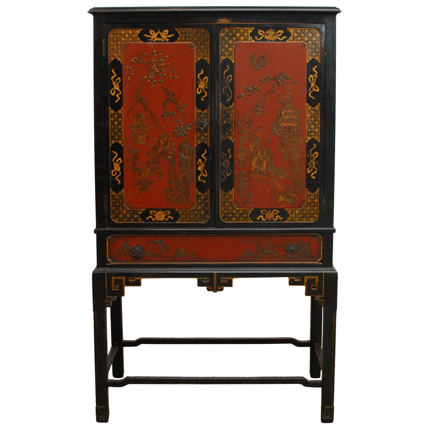Chinoiserie Black Lacquer Cocktail Bar Cabinet at 18stdibs