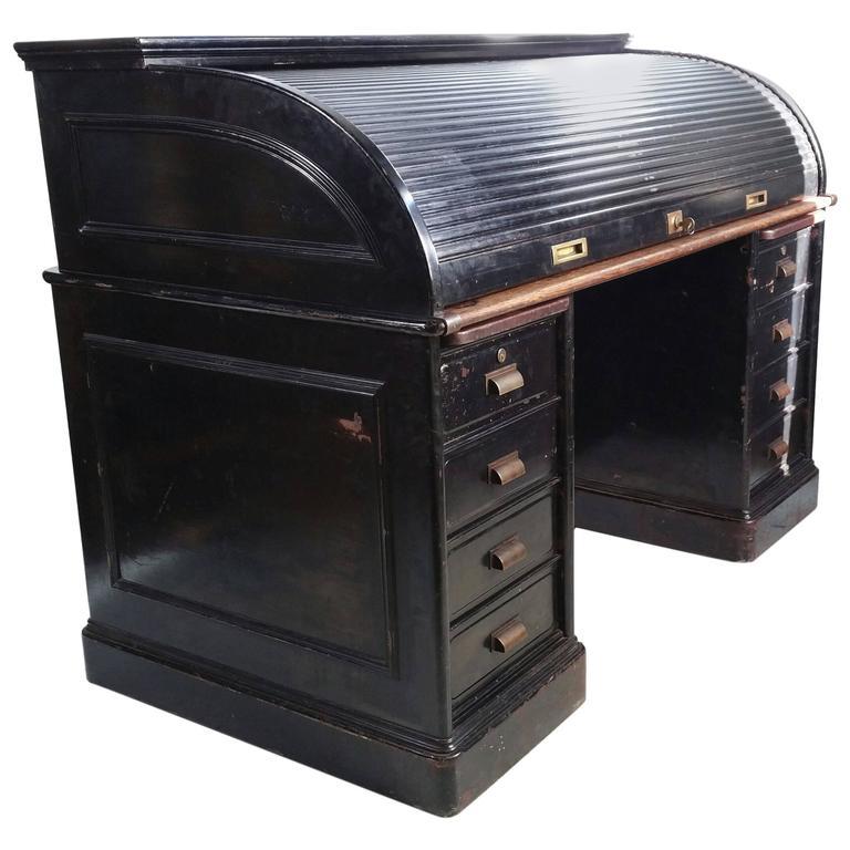 Antique Industrial Steel Roll Top Desk, Quarter Sawn Oak Interior Art Metal  For Sale - Antique Industrial Steel Roll Top Desk, Quarter Sawn Oak Interior