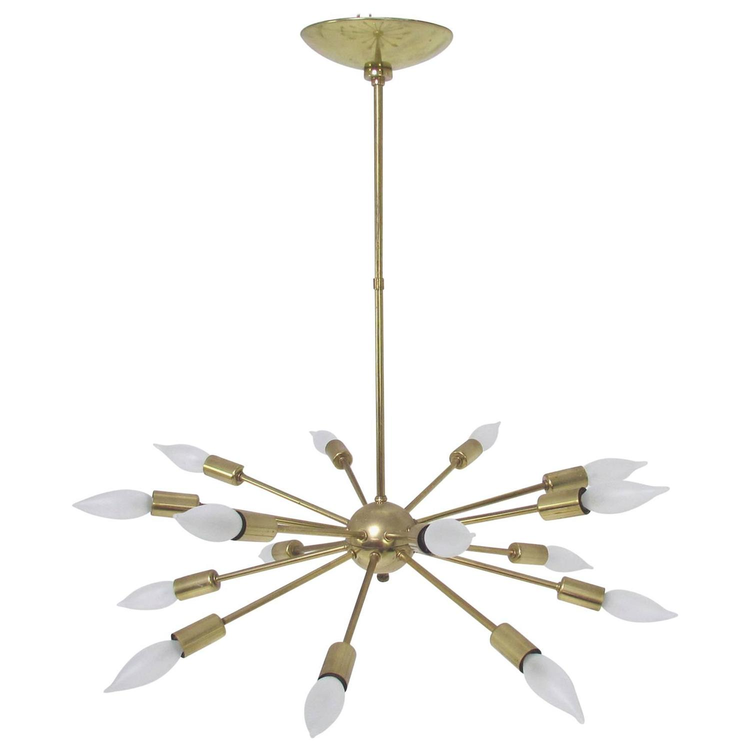Original Sputnik Chandelier Light Fixture In Brass With