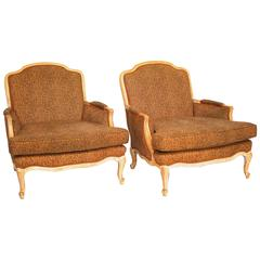 Pair of Leopard French Bergere Chairs