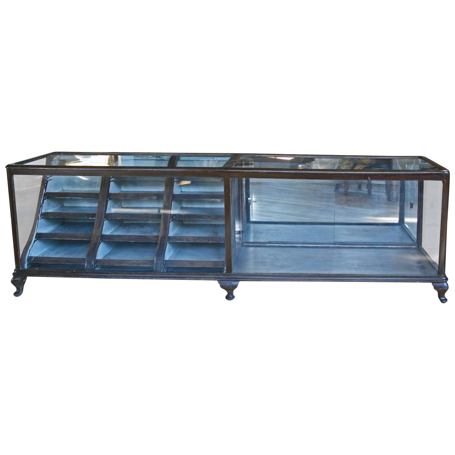Antique 1920s Glass Showcase With Curved Drawers From