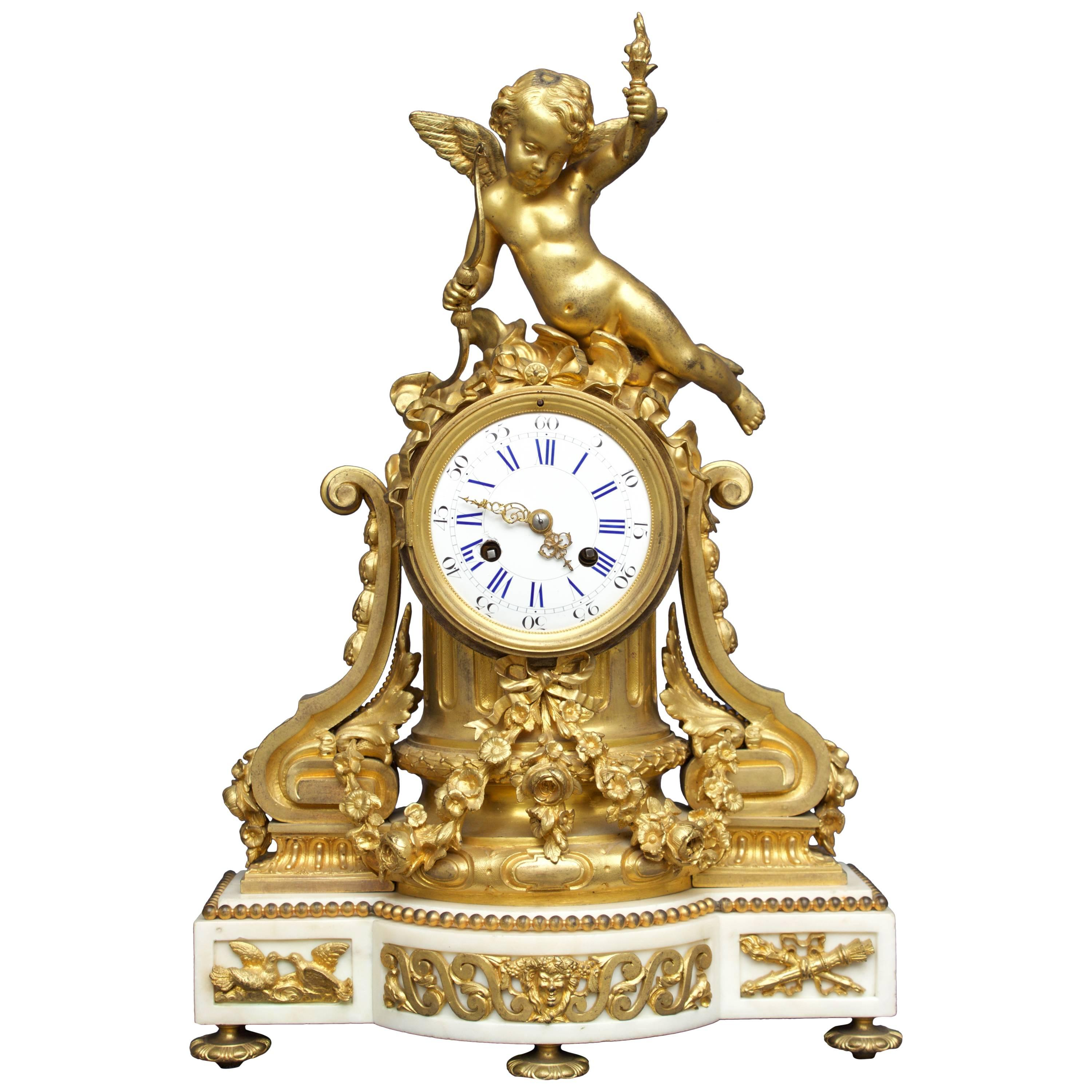 French Louis XVI Figural Clock in Chased and Gilt Bronze