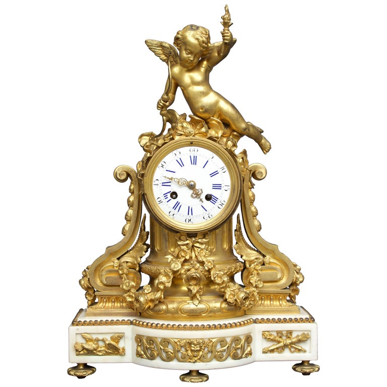 French Louis XVI Figural Clock in Chased and Gilt Bronze For Sale
