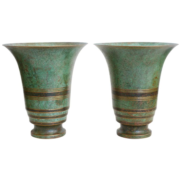 Pair of Carl Sorensen Bronze Art Deco Vases