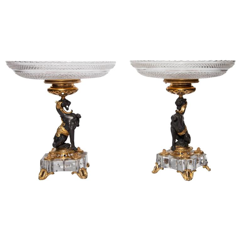 Exceptional Pair of Antique French Baccarat Crystal and Doré Bronze Compotes For Sale