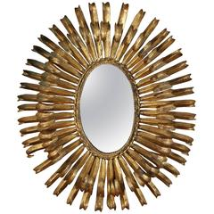Mid-Century Gilt Metal Eyelash Mirror, Spain