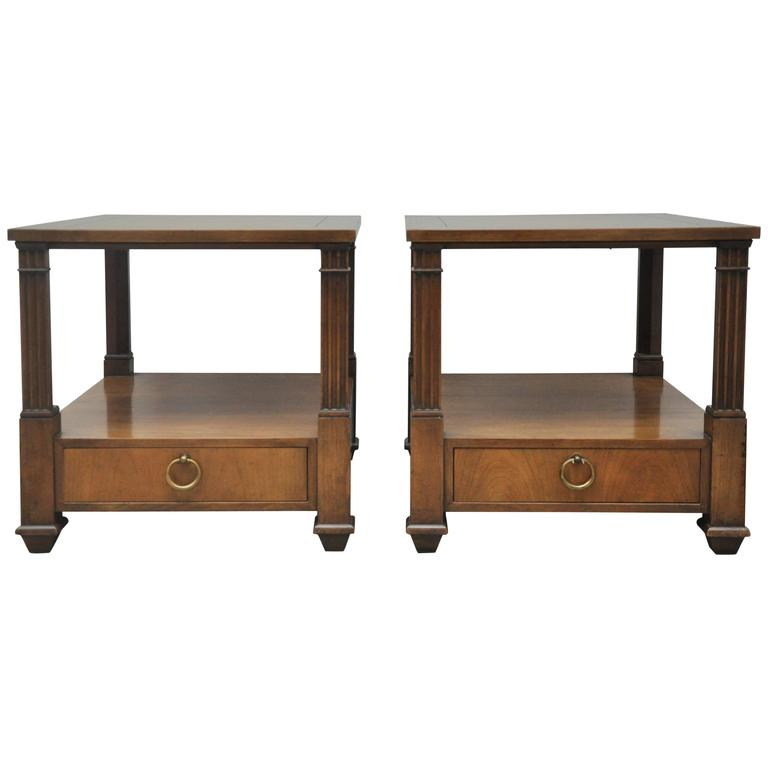 Baker Furniture Pair Nightstands Or End Tables 1960s For