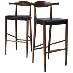 Pair of Danish Cow Horn Bar Stools in Teak and Leather after Hans Wegner