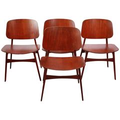 Set of Four Børge Mogensen Teak Shell Chairs