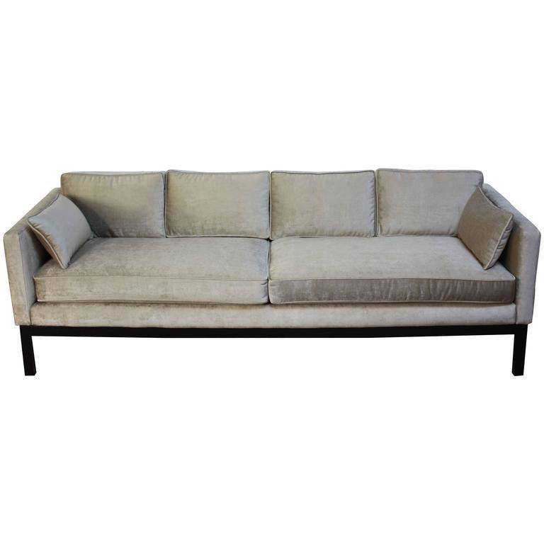 Midcentury Silk Velvet Sofa In The Manner Of Dunbar At 1stdibs