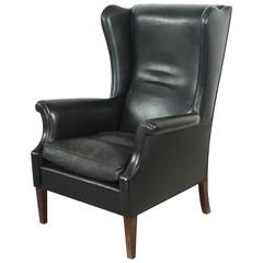 Italian Black Leather High Wingback Chair