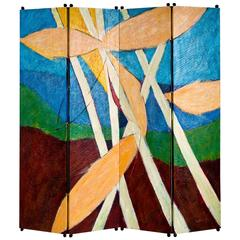 Painted and Carved Folding Screen by Wendell Castle 1993