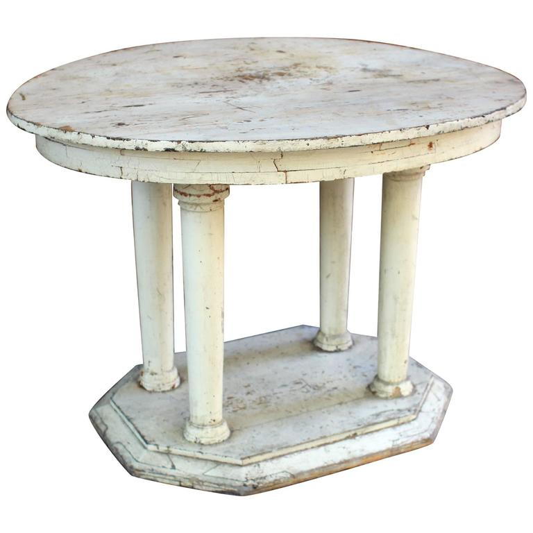 New england center table original white paint early 20th for Table th center