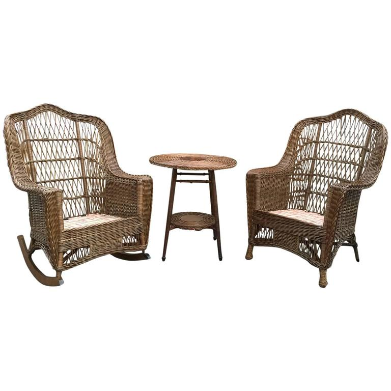 Antique Heywood Wakefield Wicker Chair and Rocker For Sale - Antique Heywood Wakefield Wicker Chair And Rocker At 1stdibs