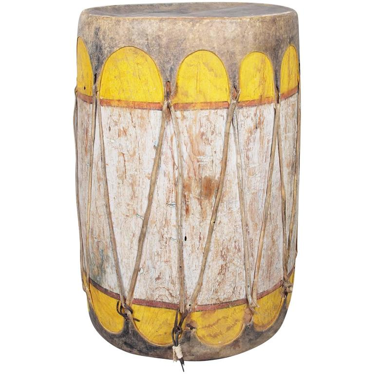 Large Antique Southwestern American Indian Painted Drum